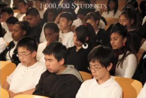 Students meditating at school