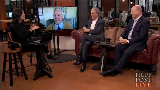 Huffingtonpost-live-meditation-against-terrorism_laughing-together Interview of John Hagelin, Bob Roth and Colonel Brian Rees laughing together